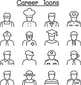 Career, Profession & Occupation icon set in thin line style