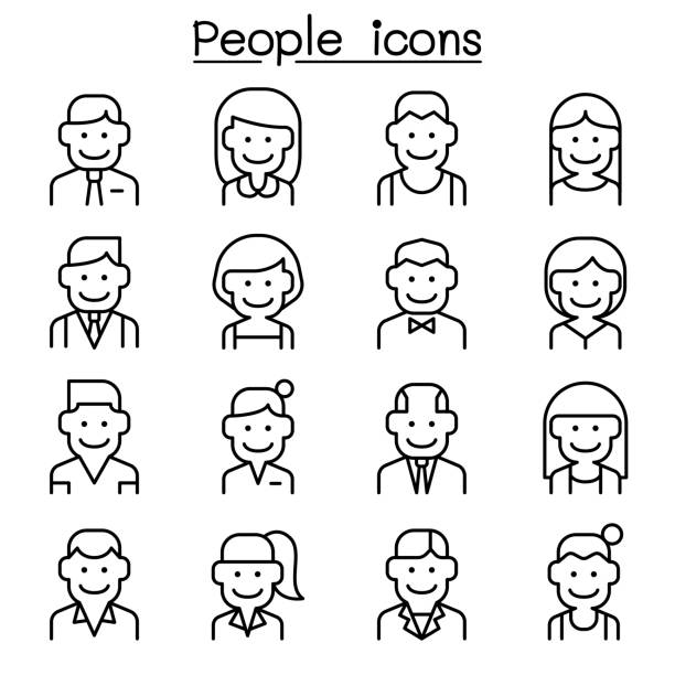 career, profession, occupation & people icon set in thin line style - old man smiling silhouettes stock illustrations, clip art, cartoons, & icons