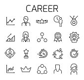 Career related vector icon set.