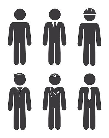 Career Stick Figures Icon Set