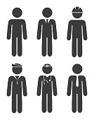 Vector of Career Stick Figures Icon Set