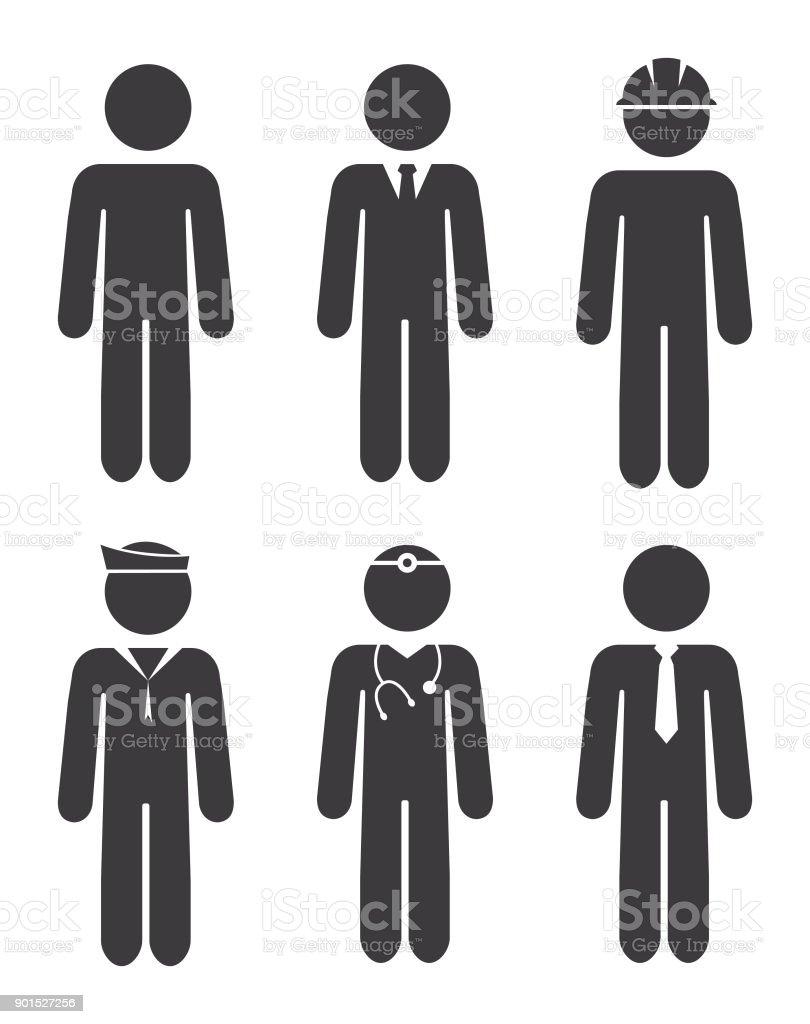 Carrière Stick Figures Icon Set - Illustration vectorielle
