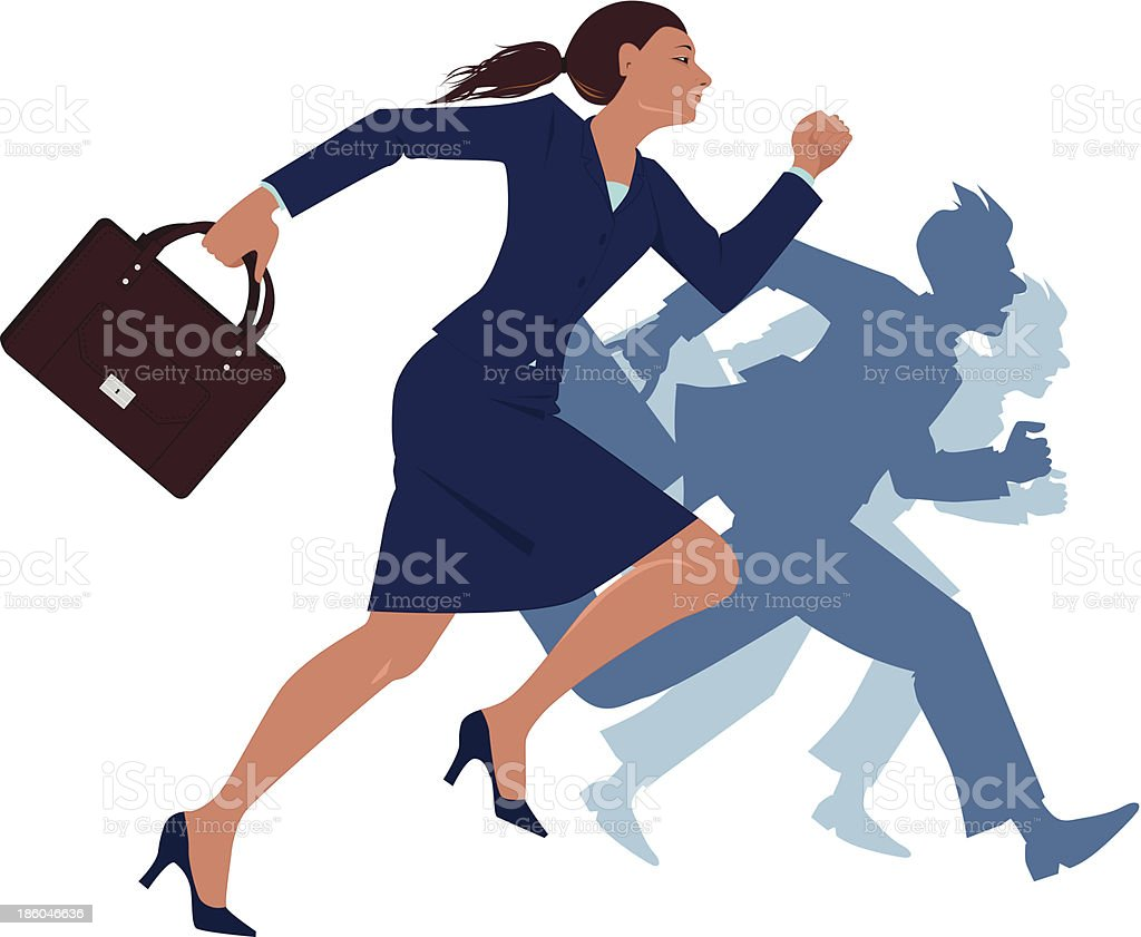 Career woman competing with men royalty-free stock vector art