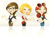 A set of three delightful female characters in formal (business) outfit. These sophisticated yet welcoming characters makes great avatars.  They are also great for any professional service-oriented projects.