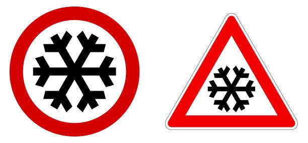 illustrazioni stock, clip art, cartoni animati e icone di tendenza di attento cartello neve / freddo / inverno. fiocco di neve nero in cerchio rosso e triangolo. - car chill