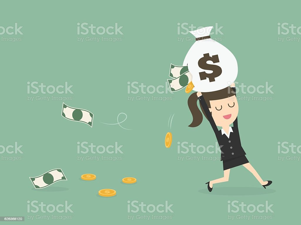 Careless Businesswoman Carrying a Torn Money Bag. vector art illustration