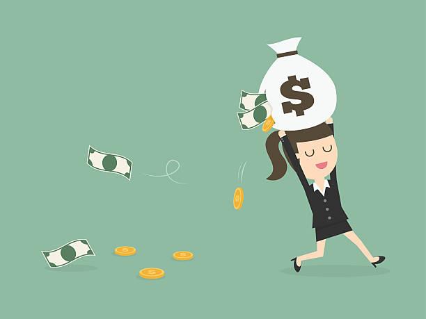stockillustraties, clipart, cartoons en iconen met careless businesswoman carrying a torn money bag. - woman very rich