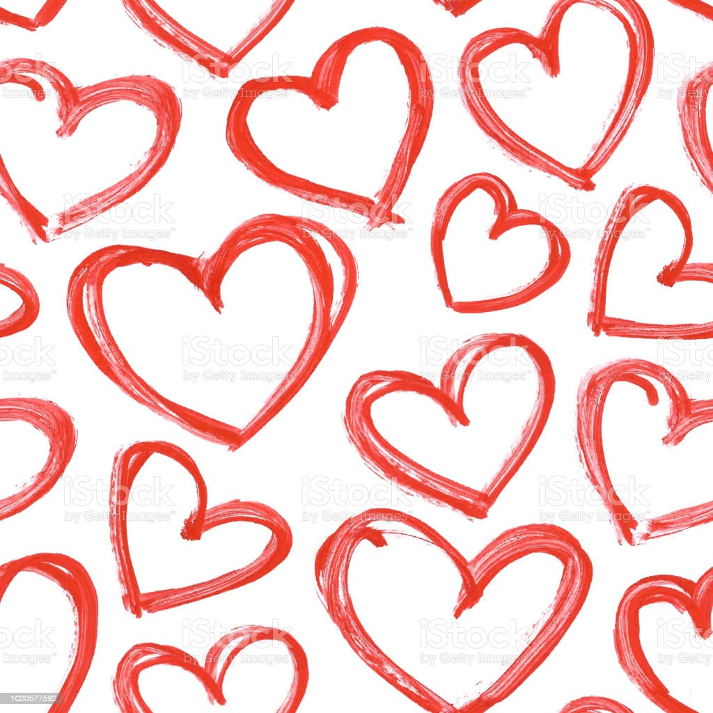 Carelessly Hand Painted Hearts By Red Acrylic Paint Seamless Vector