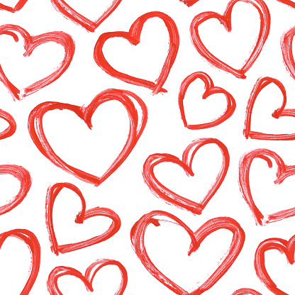 Carelessly hand painted hearts by red acrylic paint - seamless vector love pattern background with visible imperfections full of uneven stokes and thick application of paint