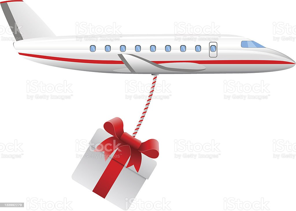 cargo air plane with present royalty-free stock vector art