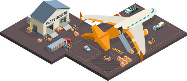 Cargo aircraft. Loading airplane packages and containers airport truck refueling vector isometric cargo transport Cargo aircraft. Loading airplane packages and containers airport truck refueling vector isometric cargo transport. Container plane cargo, freight delivery aircraft illustration airport drawings stock illustrations