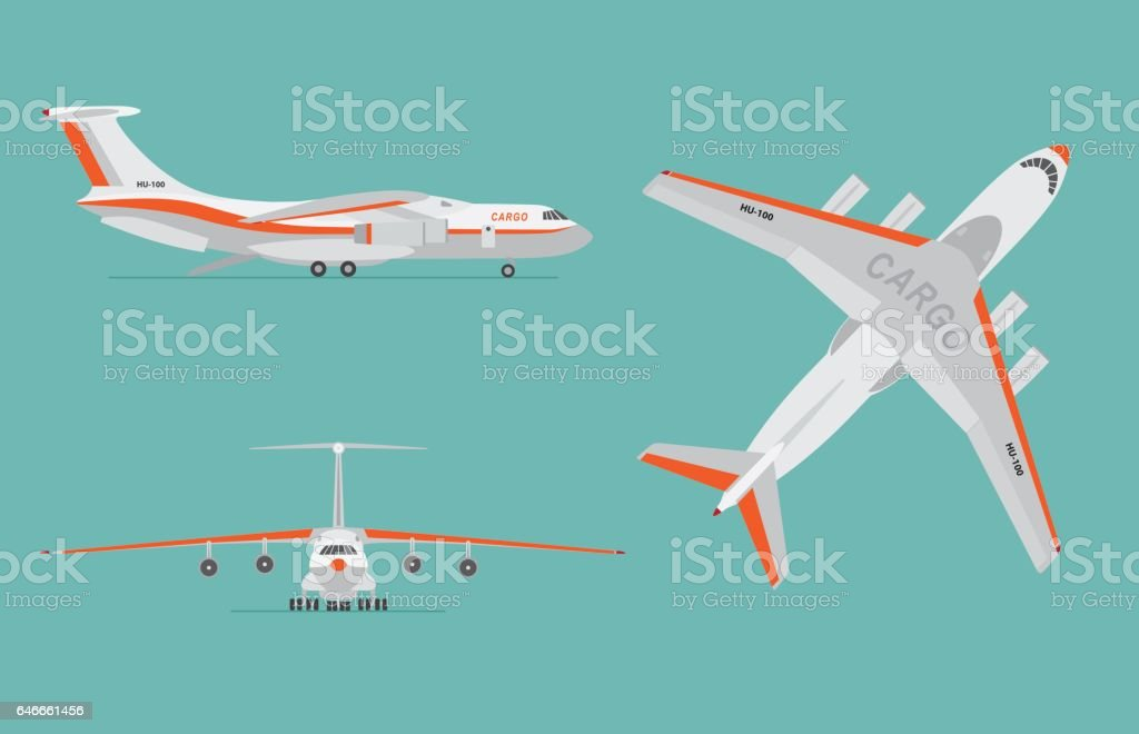 Cargo airplane on blue background. vector art illustration