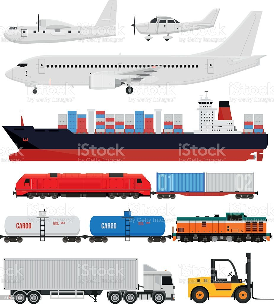 Cargo and delivery transportation vector art illustration