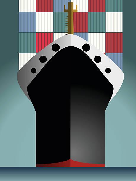 Cargo boat vector art illustration