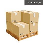 Cargo boxes pallet icon