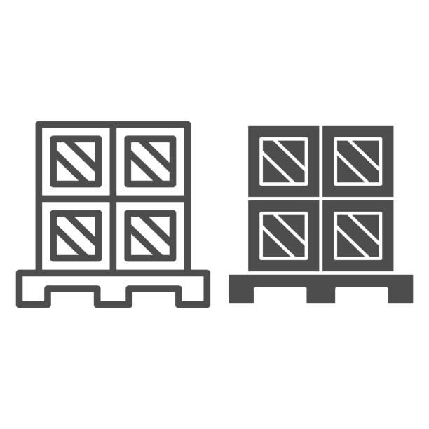 bildbanksillustrationer, clip art samt tecknat material och ikoner med lastboxar pall linje och solid ikon, lager och logistik symbol, kartonger på trä pall vektor skylt på vit bakgrund, kartong leverans förpackning ikon kontur stil. vektorgrafik. - wood sign isolated