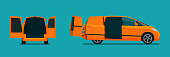 Cargo compact van with open tailgate. Side view and back view. Vector flat style illustration.