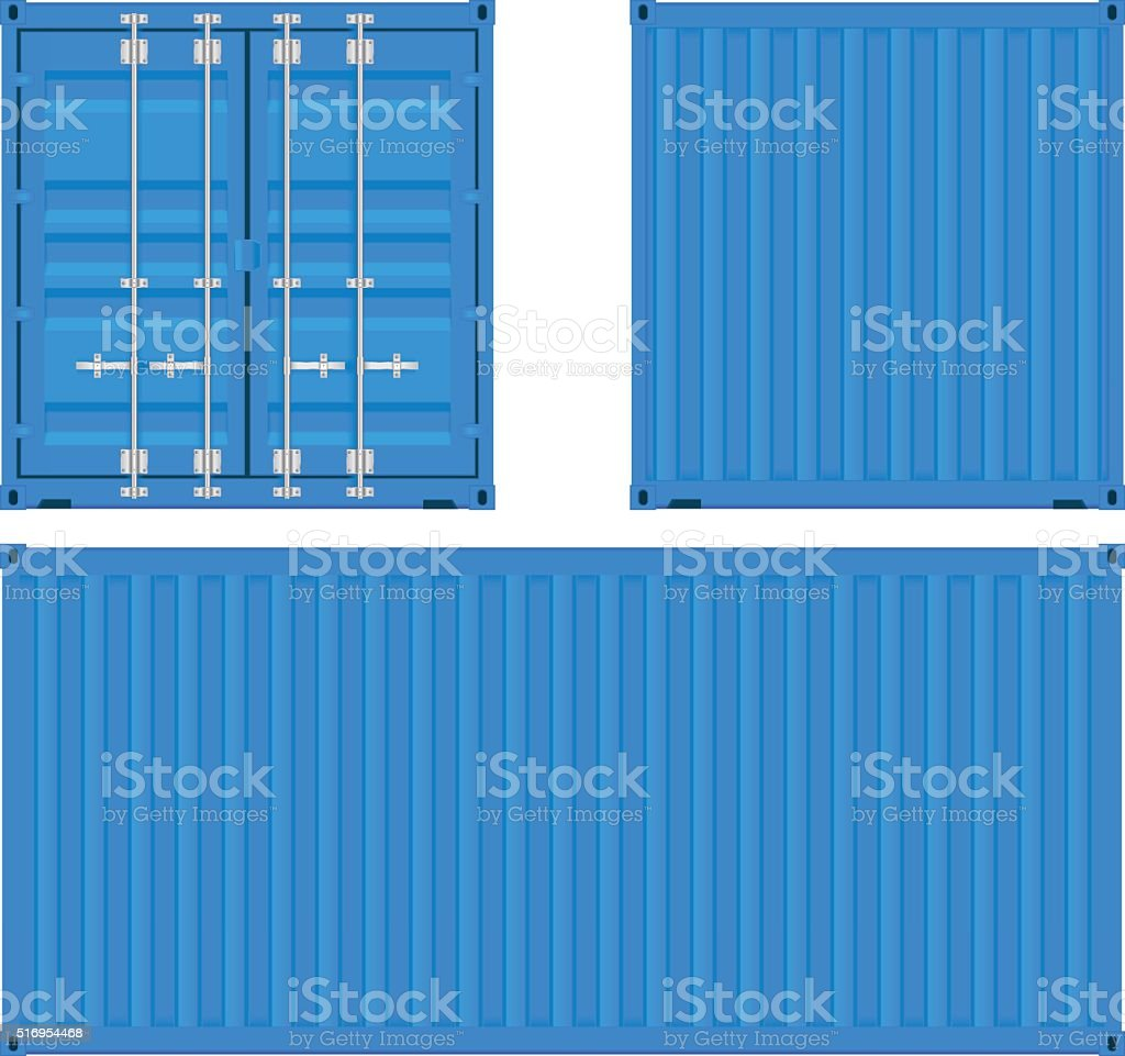 Cargo container. Blue shipping container vector art illustration