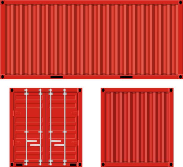 stockillustraties, clipart, cartoons en iconen met cargo container voor verzending - vrachtcontainer
