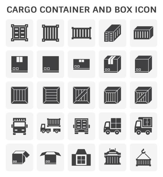 stockillustraties, clipart, cartoons en iconen met pictogram van de container van de lading - vrachtcontainer