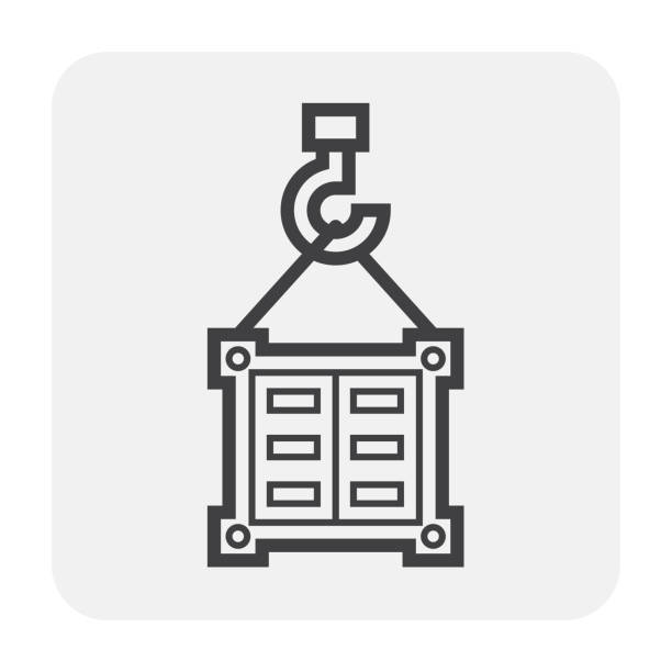 cargo container icon Cargo container and crane icon on white. hooikoorts stock illustrations