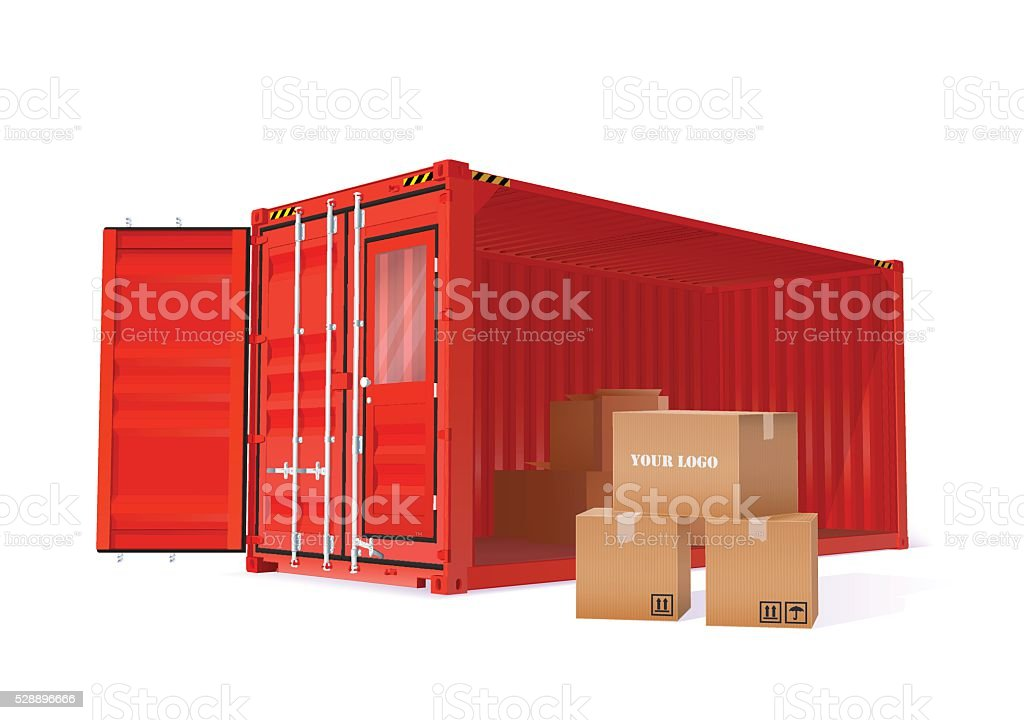 Cargo Container Illustration vector art illustration