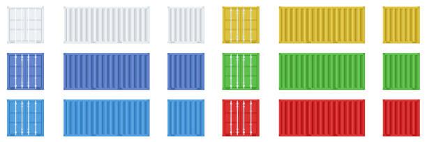 stockillustraties, clipart, cartoons en iconen met cargo container set geïsoleerd op witte achtergrond. kleurrijke doos van verschillende kanten collectie. freight shipping container opknoping op kraanhaak. eenvoudig ontwerp. platte stijl vector illustratie. - vrachtcontainer