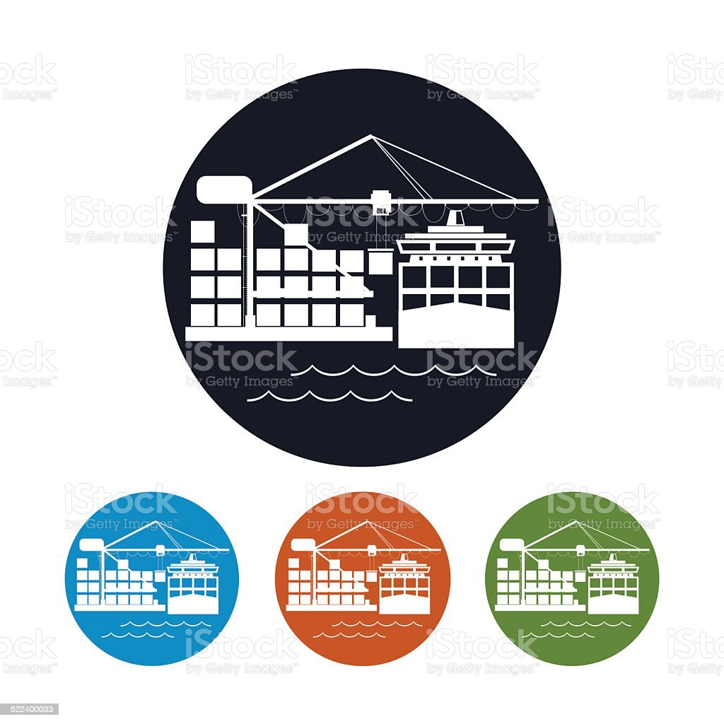 Cargo container ship icon,logistics icon, vector illustration vector art illustration