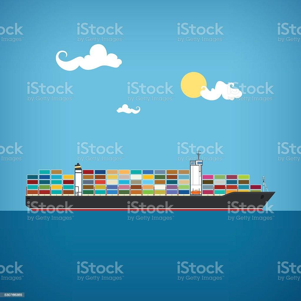 Cargo container ship, vector illustration vector art illustration