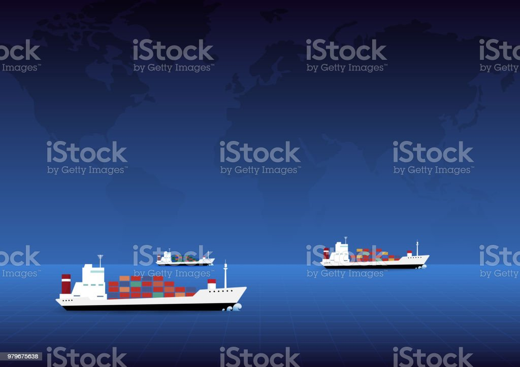 Cargo container ships navigate worldwilde. vector art illustration