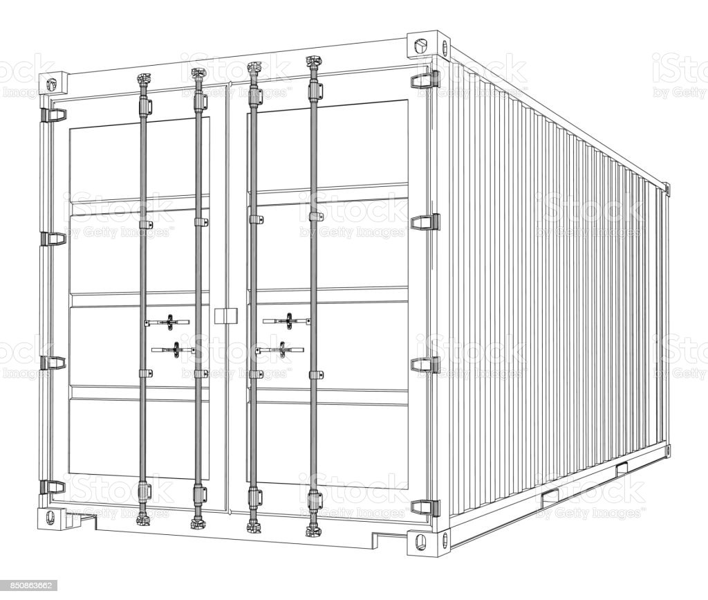 Cargo Container Wireframe Style Stock Vector Art & More Images of ...