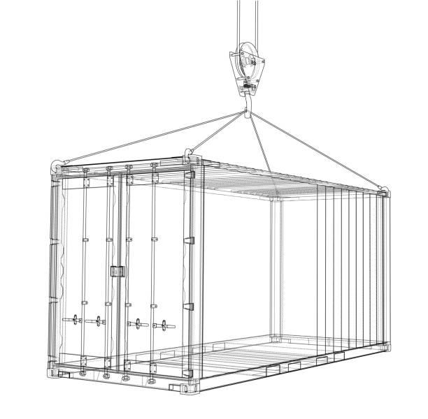 cargo-container. drahtrahmen stil - stuhllehnen stock-grafiken, -clipart, -cartoons und -symbole