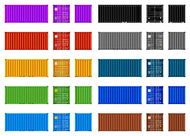 stockillustraties, clipart, cartoons en iconen met cargo containers, multi kleur instellen, vector, geïsoleerd op wit - vrachtcontainer