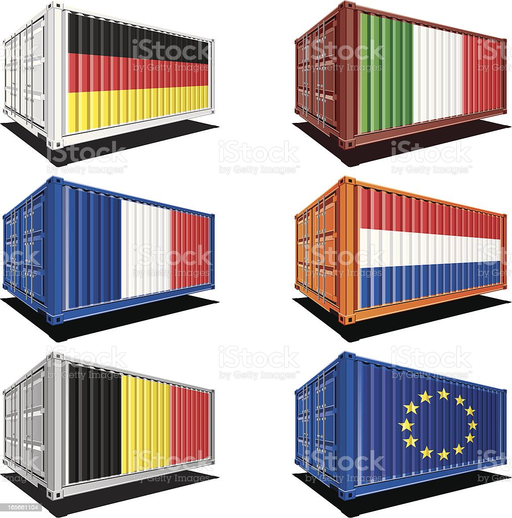Cargo containers with flag designs royalty-free cargo containers with flag designs stock vector art & more images of belgium