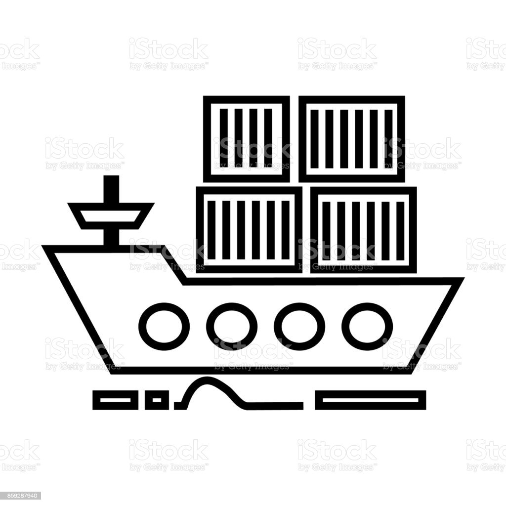 cargo delivery by sea ship vector line icon, sign, illustration on background, editable strokes vector art illustration