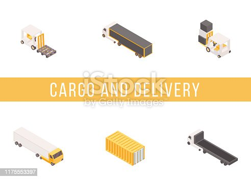 Cargo delivery isometric vector banner template. Industrial freight vehicles and container 3D illustrations set with typography. Goods transportation business, commercial conveyance service concept