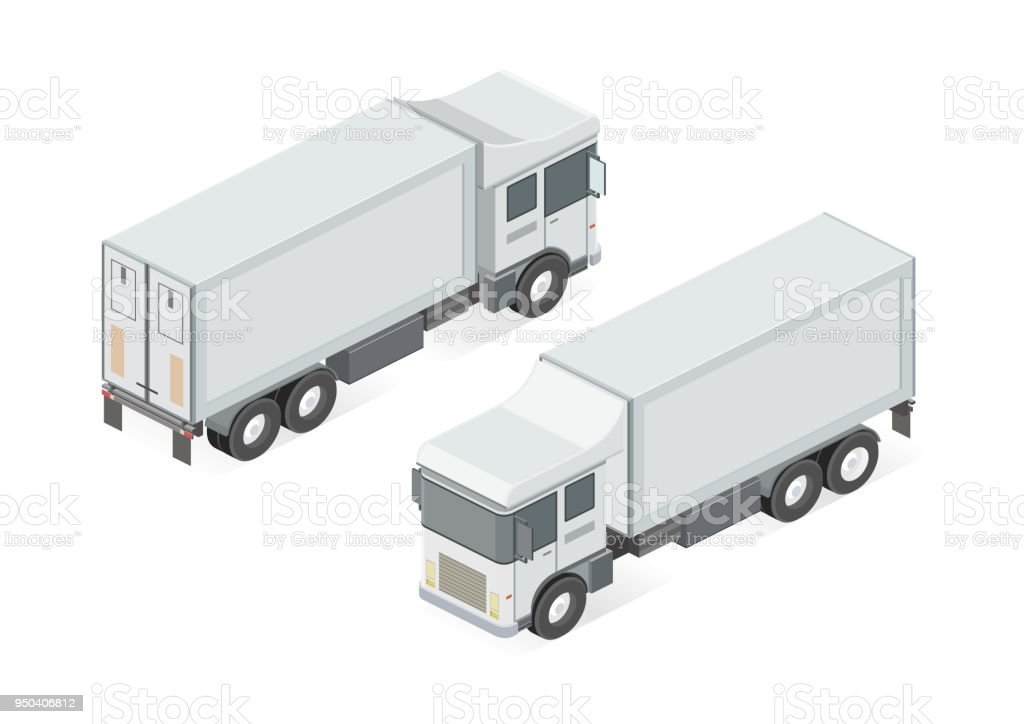 Cargo Delivery Truck Isolated On White Background 3d View
