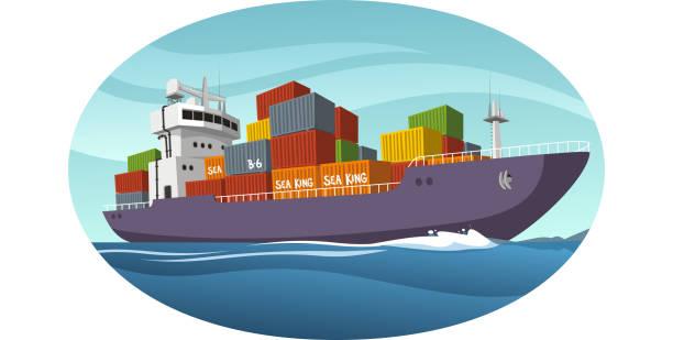 Cargo-Industriell genutztes Schiff Fracht – Vektorgrafik