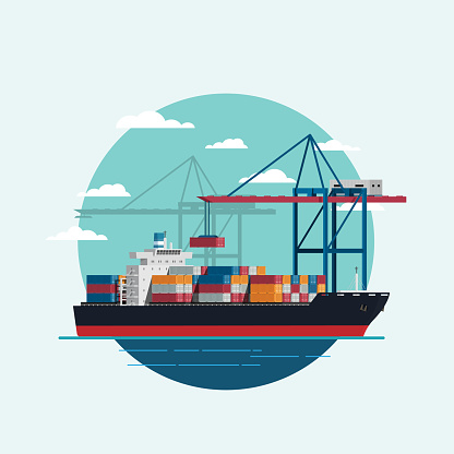 Cargo logistics being loaded container ship with working crane import export transport industry. icon Vector illustration