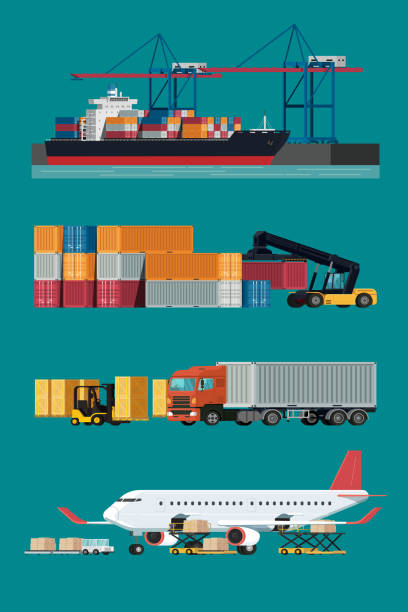 Cargo logistics transportation, container ship and cargo plane with working crane import export transport industry and forklift truck. illustration vector Cargo logistics transportation, container ship and cargo plane with working crane import export transport industry and forklift truck. illustration vector container stock illustrations