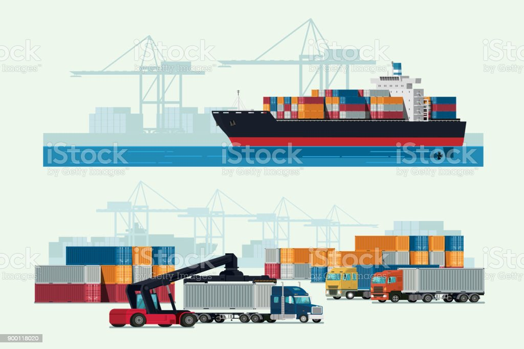 Cargo logistics truck and transportation container ship with working crane import export transport industry. illustration vector royalty-free cargo logistics truck and transportation container ship with working crane import export transport industry illustration vector stock illustration - download image now