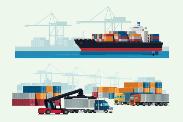 bildbanksillustrationer, clip art samt tecknat material och ikoner med logistik lastbil och transport container lastfartyg med fungerande kran import export transportindustrin. illustration vektor - hamn