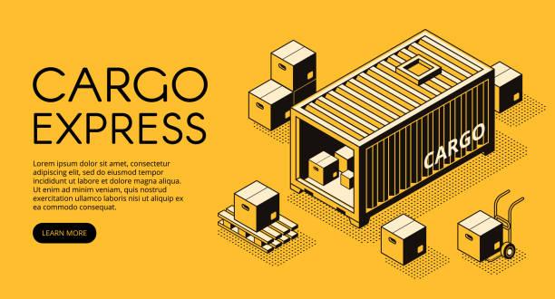 cargo logistik isometrische vektorgrafik - frachtpaletten stock-grafiken, -clipart, -cartoons und -symbole