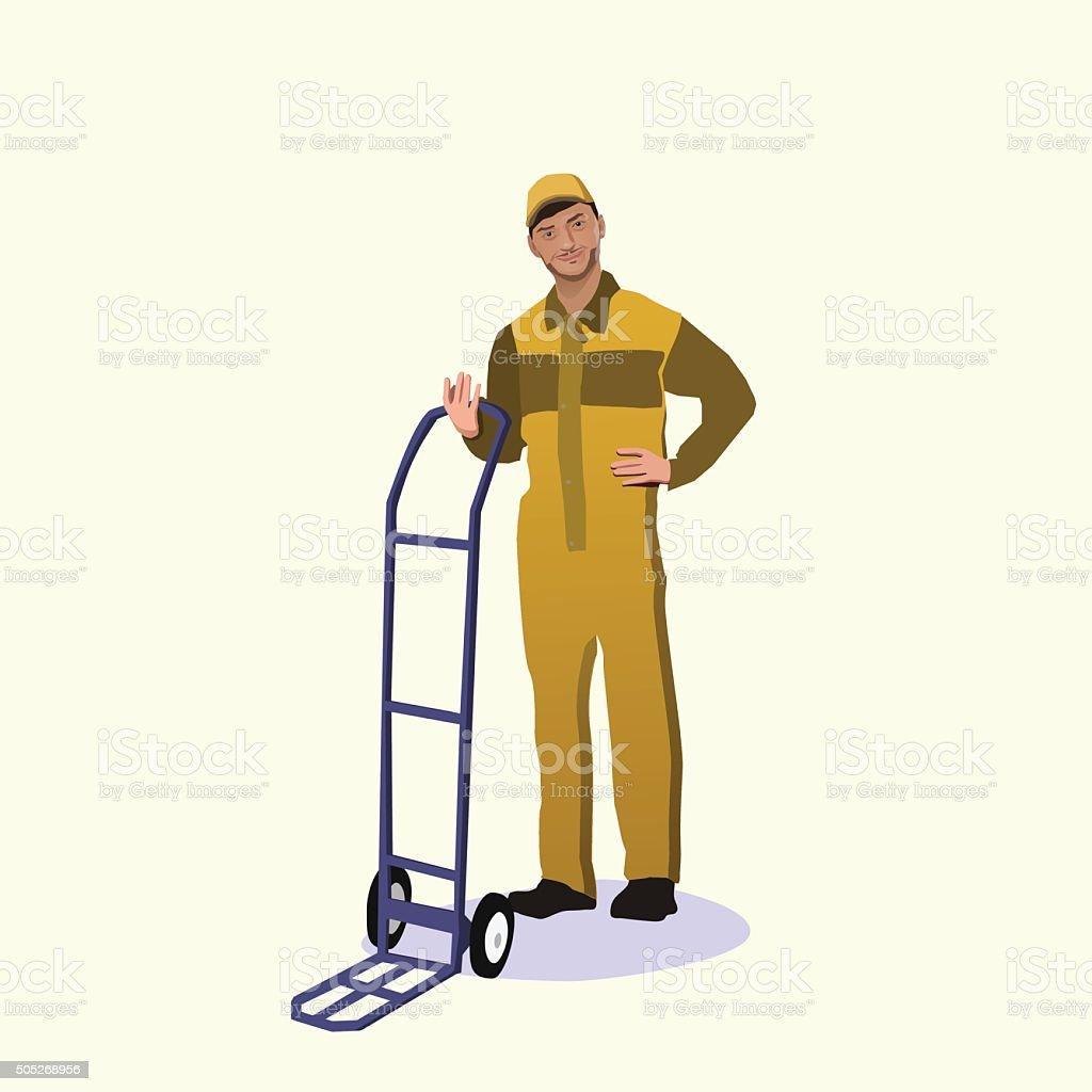 cargo man vector art illustration