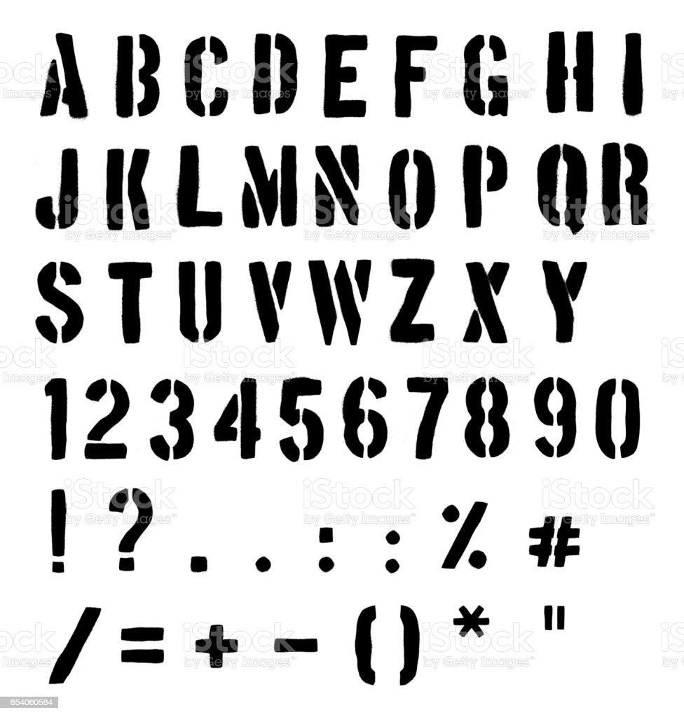 Cargo Or Traffic Stencil Alphabet vector art illustration