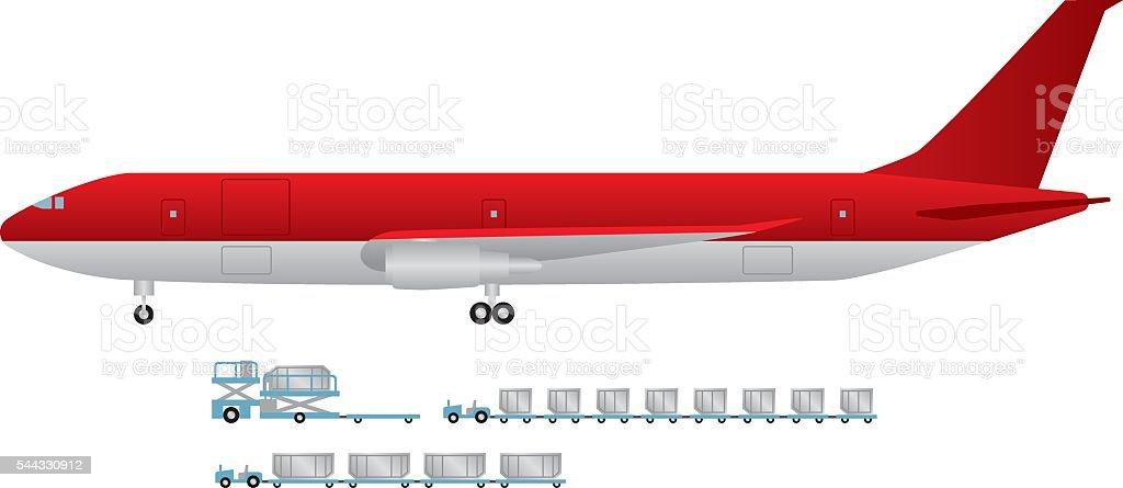 Cargo planes and tractors vector art illustration