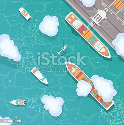 istock Cargo port in flat style. Top view. 1309572966