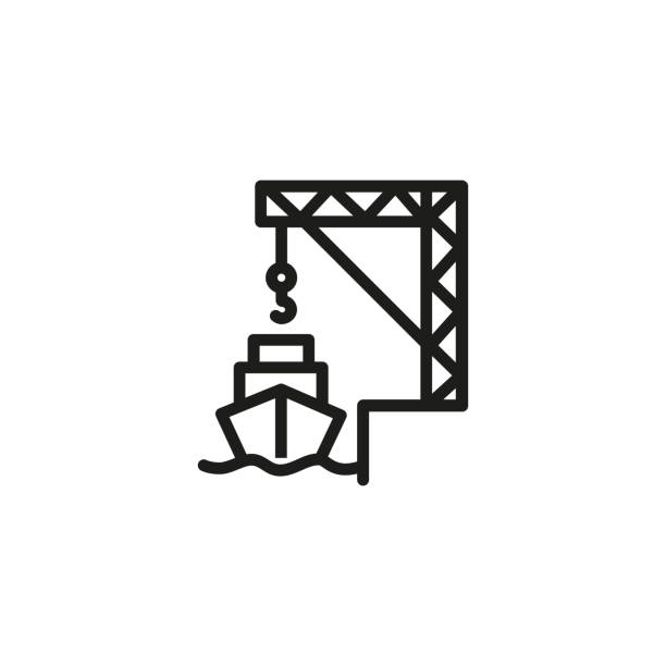 Cargo port line icon Cargo port line icon. Loading, freight, export. Marine port concept. Vector illustration can be used for topics like transportation, shipment, logistics hooikoorts stock illustrations