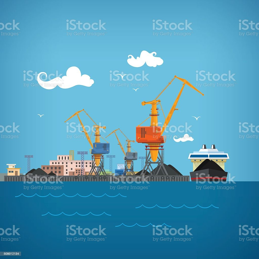 Cargo Sea Port vector art illustration