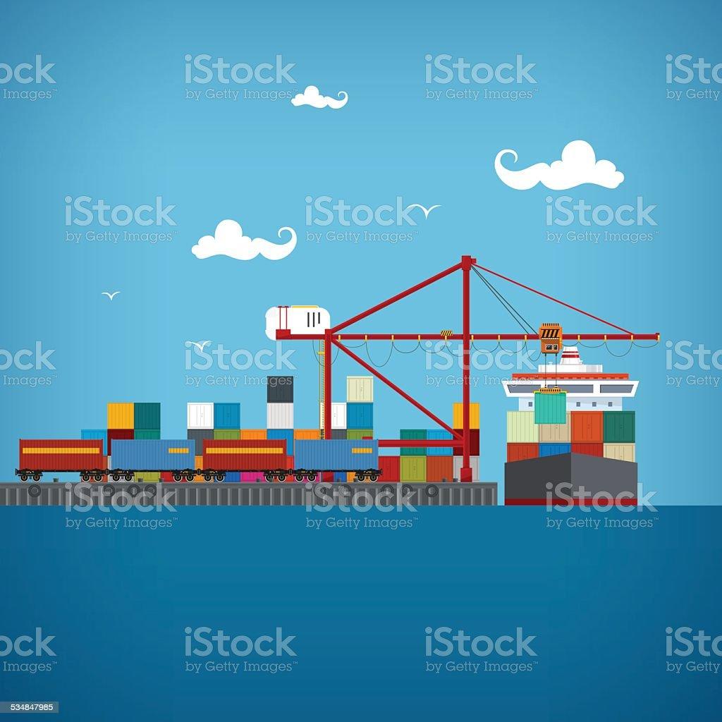 Cargo sea port , vector illustration vector art illustration